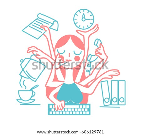 The concept of the effectiveness of a woman secretary at the office, in the form of many hands. Icon in the linear style Foto stock ©