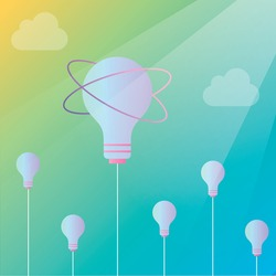 The concept of the growth of ideas is like grass with clouds, flowers in the form of light bulbs in the form of a creative idea. Motivation in life and business. For the design of materials, social