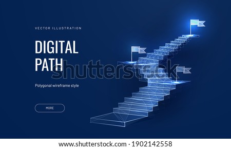 The concept of the path to success on a blue background. Staircase up in a futuristic polygonal style. Digital path abstract vector illustration Foto d'archivio ©