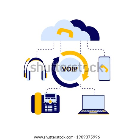 The concept of the scheme of the device of the VOI telephony system, includes a server, cloud storage, laptop or computer, telephone, headphones for the operator who receives calls. Flat vector illust Zdjęcia stock ©