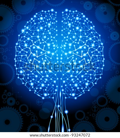 the concept of  thinking.background with brain.the file is saved in AI10 EPS version. This illustration contains a transparency. - stock vector