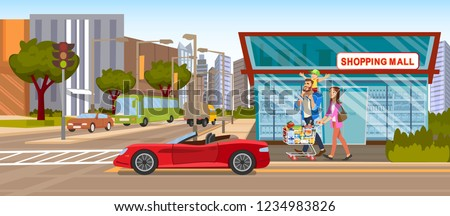 The Concept Shopping Mall downtown on the Road. Vector Illustration of Cartoon Happy Family going to the grocery Store. Full food Shopping cart. Red Car Cabriolet on the background of a Supermarket
