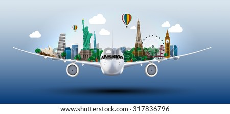 The concept travel the world on the airplanes. vector Foto stock ©