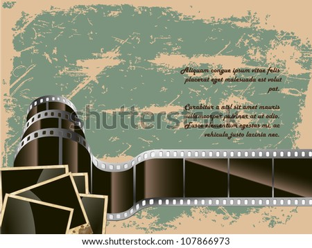 the conceptual background of old technology. film with a photo