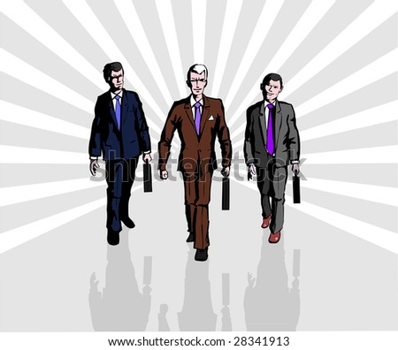 The confident step is of business people. Businessman leading team of business people working in background.