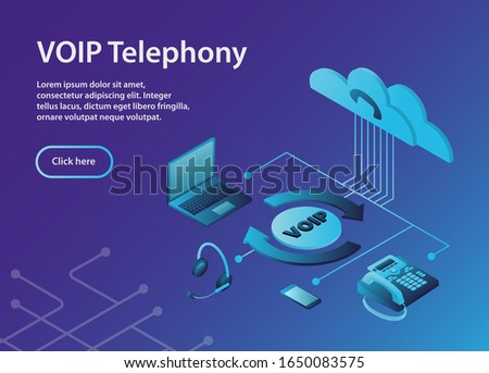 The configuration scheme of the VoIP system.Concept VOIP telephony, isometric, example site page. VOIP Telephony Scheme with ip-telephone Zdjęcia stock ©
