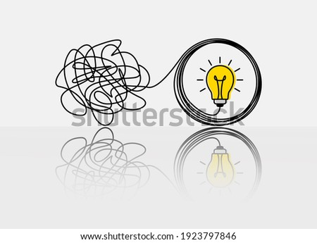 the confused concept of chaos in thoughts, the idea of enlightenment and order in the head. the concept of psychology and a personal trainer. vector illustration in linear style doodle Photo stock ©