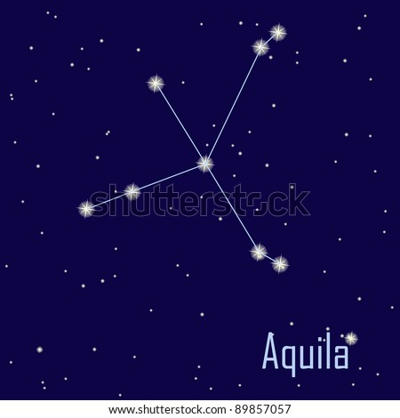 """The constellation """"Aquila"""" star in the night sky. Vector illustration"""