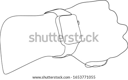 The continuous line of a person's hand indicates a wrist watch. time of the task,a quick solution to the problem. apple watch one line art. smart watch on a hand drawing. hand with a watch one line