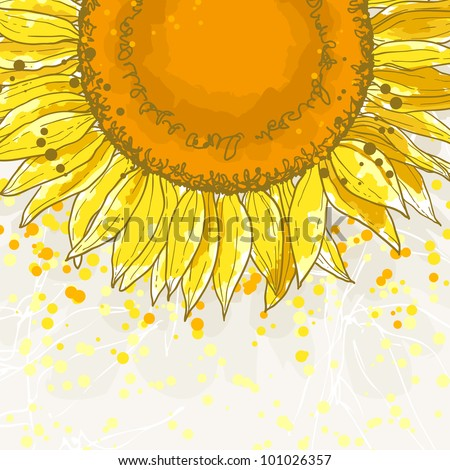 The contour drawing flower sunflower. Can be used as background for invitation cards. - stock vector
