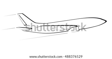 The contour of the modern jet aircraft. Side view. In flight. Black color.