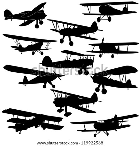 The contours of old aircraft and airplanes. Illustration on white background.
