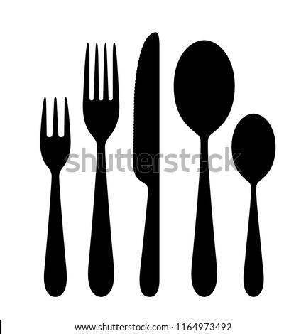 The contours of the cutlery. Spoon, knife, fork. Ready to use vector elements. EPS10.