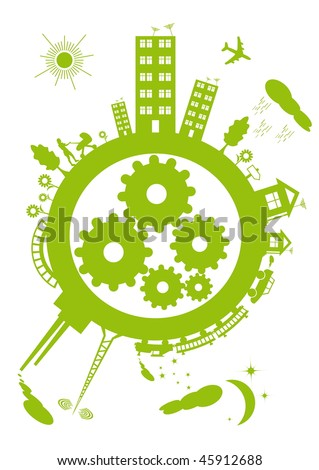 The contours of the green planet on a white background. Within the mechanism of the planet gears.