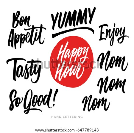 Shutterstock The cooking lettering designs for print and web projects. Banners, stickers, packaging. Food shop background. Yummy, Tasty, So Good, Happy hour, Enjoy, etc.