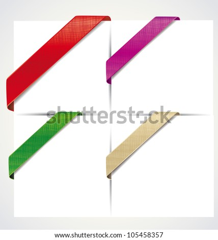 the corner colored ribbons on a white background