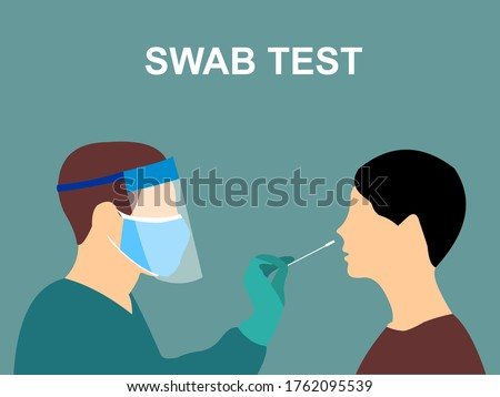 The Coronavirus Covid-19 swab test is conducted by a medical professional, worker, doctor, or nurse. Patients who received the Corona swab test.