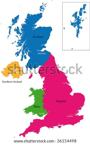 The countries of the United Kingdom and capital cities
