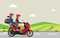 The couple riding a motorbike traveled to their hometown.