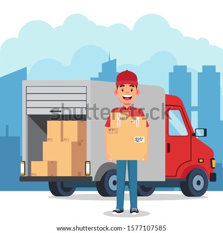 The Courier Brought The Parcel By Car In The City Vector Illustrations
