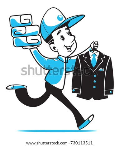 The courier of dry cleaning, laundry. Quickly, we will put your clothes in order and deliver them to you. Suitable for website, printing and your advertising. Vector character on a white background.