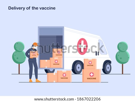 The courier outside of the truck with boxes of the vaccine. The vaccine was found for the virus. Delivery of medicines to pharmacies and at home. Vector illustration.