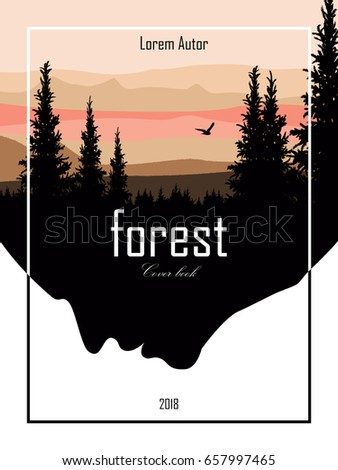 The cover of the book landscape of forests and mountains. Vector illustration.