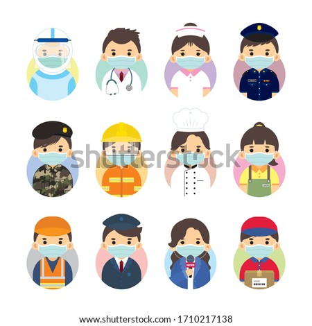 The Covid-19 coronavirus frontline workers. Cartoon medical staff, doctor, nurse, police, military personnel, fireman, food servies, essential retailer, sanitation, driver, couriers & news reporter.