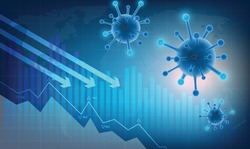 The covid 19 or  corona virus impacts Crisis and loss the global economy and financial business. the coronavirus weakens the economy.bar graph decline pattern on blue background