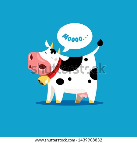 The cow goes moo. Vector illustration of a mooing cow in simple children's style. Foto d'archivio ©