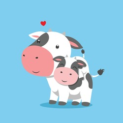 The cow is lifting his baby cow on his back of illustration