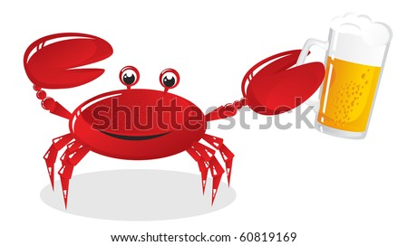 The crab holds a mug of light beer