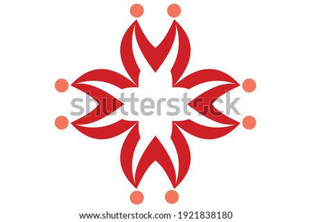 The crab-human logo is formed from four M letters arranged by a cross, if you look at the crab logo, there are crab legs and horns, and in the letter M there are two people holding hands. Stock fotó ©