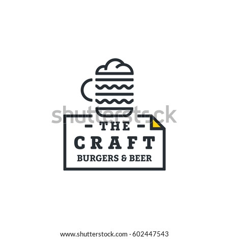 The craft burgers and beers. Logo template.