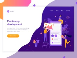 The creation of a mobile application. Web banner design template. Easy to edit and customize. Flat vector illustration.