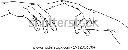 The Creation of Adam in simple minimalistic line art style. Vector Illustration of hands. Lineart in a trendy minimalist style. Fingertip touch   Foto stock ©