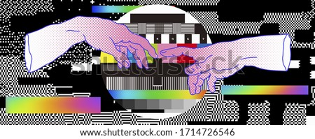 The Creation of Adam on No Signal TV backgound. Vaporwave style Collage with hand drawn illustration from a section of Michelangelo's fresco Sistine and RGB Bars with VHS glitch effect.