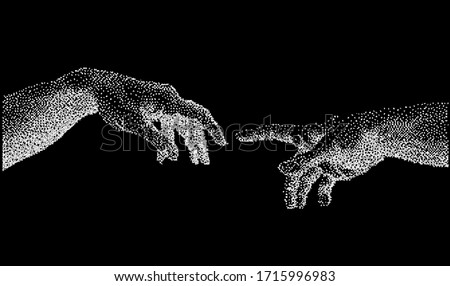 The Creation of Adam. Vector hand drawn dotwork illustration from a section of Michelangelo's fresco Sistine Chapel ceiling. Hands made of particles. Stock photo ©