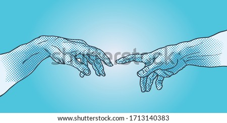 The Creation of Adam. Vector hand drawn illustration from a section of Michelangelo's fresco Sistine Chapel ceiling isolated on blue background.