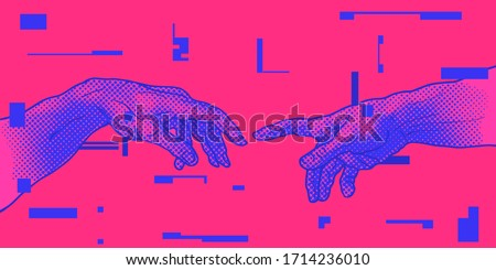 The Creation of Adam. Vector hand drawn illustration from a section of Michelangelo's fresco Sistine Chapel ceiling in colorful pink and blue vaporwave style.