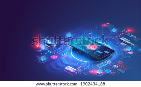 The credit card is isometric. The concept of the protective functions of the map. Can use for web banner. Secure payment, payment protection concepts. Credit card with lock. Vector illustration