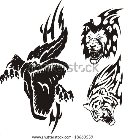 crocodile tattoo. stock vector : The crocodile