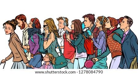 the crowd of pedestrians  men