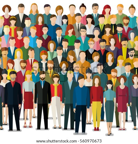The crowd of people in flat style. Seamless background. Flat design, vector illustration.
