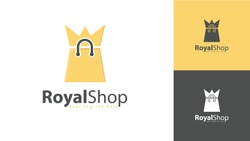 The crown logo design is combined with a vector shopping bag