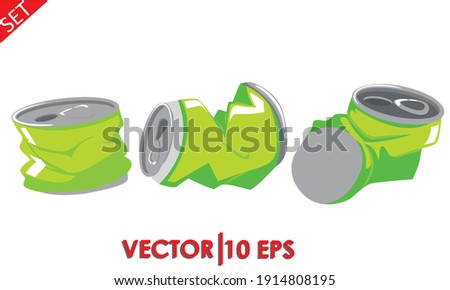 The crumpled soda can. Crushed tin cans. Set. Vector illustration. Foto stock ©