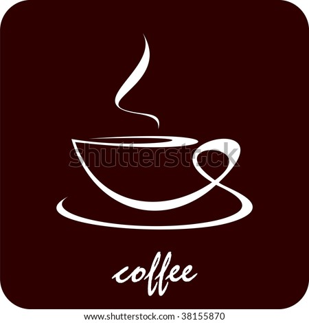 The cup of coffee on dark brown background - stylized image. Illustration can be used to design menu restaurant or cafe.
