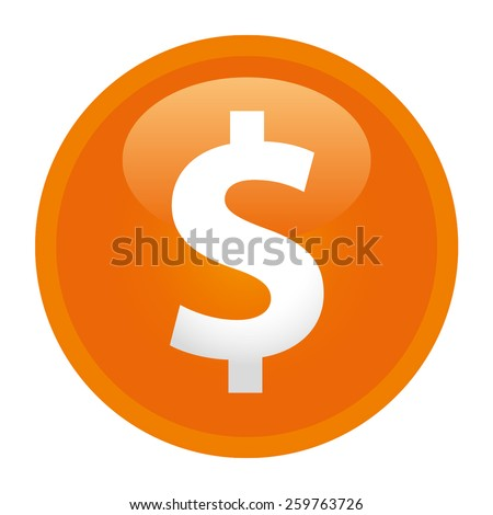 The currency sign of Dollar Badge, Label or Sticker, Orange