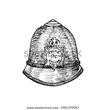 The custodian helmet (British Bobby police hat),  gravure style ink drawing illustration isolated on white Photo stock ©