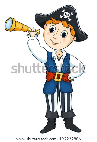 картинка пират с подзорной трубой